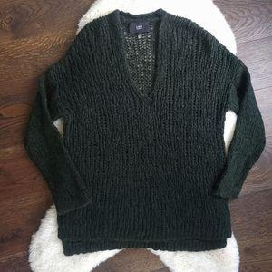 Line Knitwear Army Green Evergreen Super Soft Baby Alpaca Open Knit Sweater